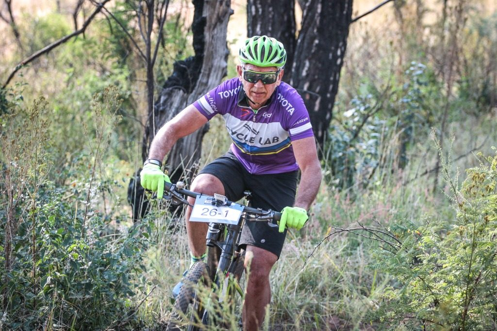 Local resident and South African cycling legend, Andrew McLean, in action on the final stage of the 2017 Glacier Cradle Traverse, on Sunday the 7th of May. Photo by Oakpics.com.