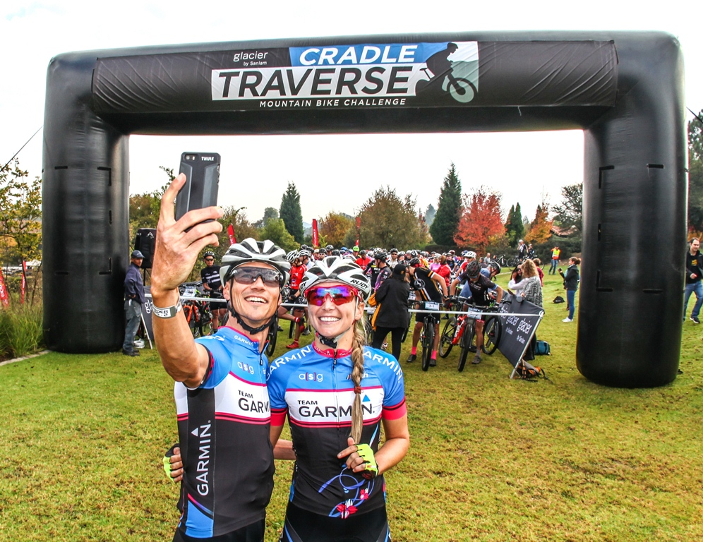 Ben Melt Swanepoel takes a pre-race selfie with his girlfriend and Team Garmin riding partner Yolandi du Toit ahead of Stage 2 of the Glacier Cradle Traverse, on Saturday the 6th of May 2017. Photo by Oakpics.com.