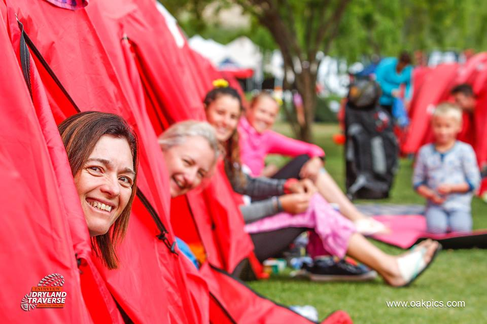 The standard entry option includes one of Dryland's famous red two person tents per rider. Photo by Oakpics.com.