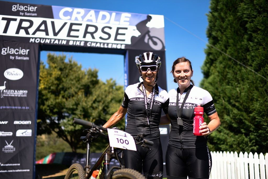 A beaming Yolande (left) and Michelle (right) de Villiers pose for a photo on the finish line. Photo by Carli-Ann Furno/www.zcmc.co.za.