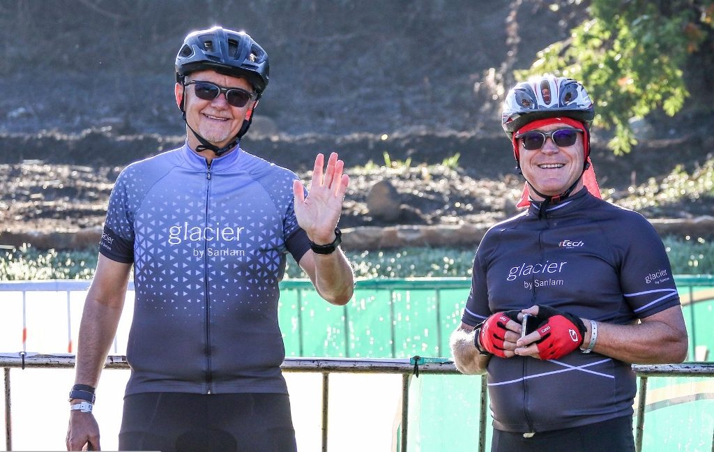 Economist Dawie Roodt (right) and his Efficient Group business partner and teammate Heiko Weidhase after finishing the Glacier Cradle Traverse at the Avianto Lifestyle Estate earlier this month. Roodt and Weidhase won the Corporate Team title. Photo by Oakpics.com.