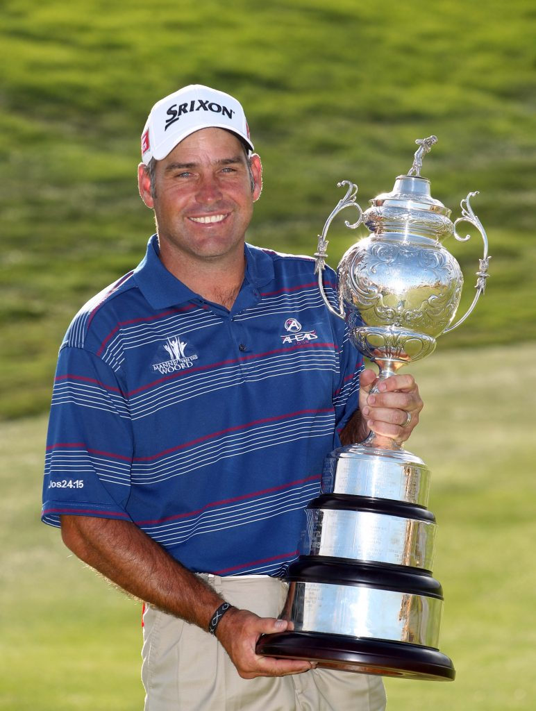 Hennie Otto celebrates during day 4 of the South African Open Championship in 2011. Photo by Carl Fourie/Gallo Images/Sunshine Tour.